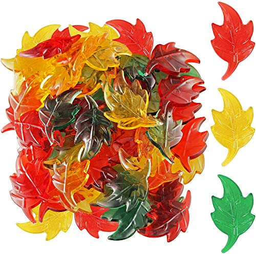 Package of 180 Fall Acrylic Mini Leaves - Great Autumn Table Scatters Vase Filler, and Fall Decoration Preschool Counting (Scatter Table)
