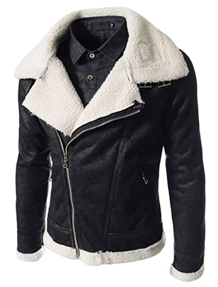 GAGA Men's Winter Fur-lined Leather Jacket Lapel Zipper at Amazon ...