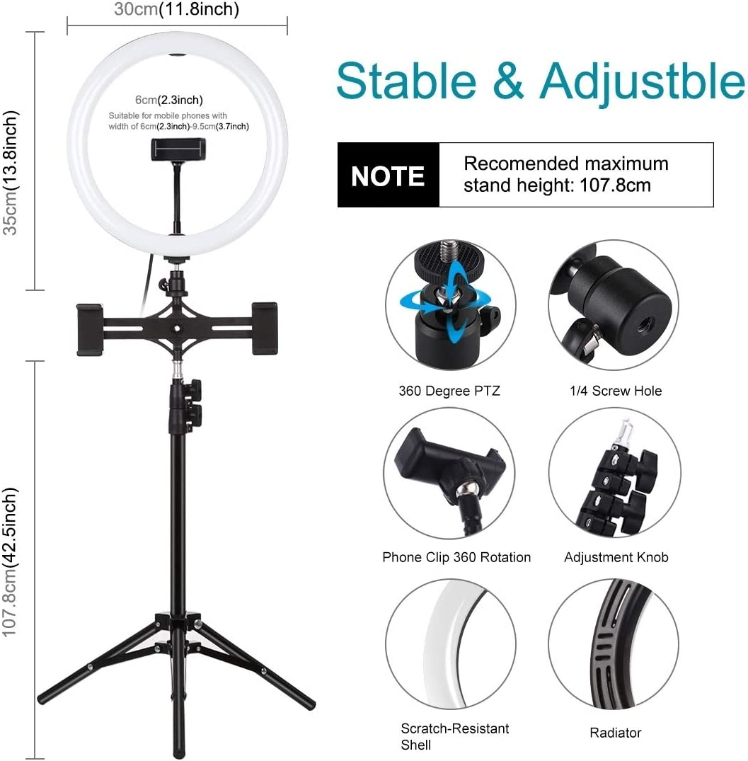 Computer Tripod Mount 11.8 inch 30cm Curved Surface USB 3 Modes Dimmable Dual Color Temperature LED Ring Vlogging Video Light Live Broadcast Kits with Phone C Dual Phone Brackets Horizontal Holder