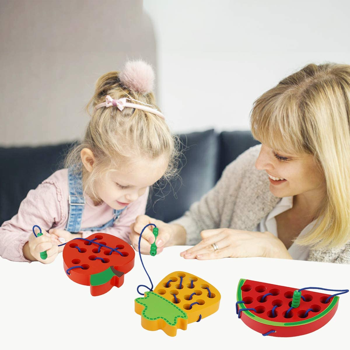 Aitey Lacing Toy for Toddlers Apple Watermelon Pineapple Wooden Threading Toys Educational Learning Fine Motor Skill Toys Car Plane Travel Games for 2 3 4 Years Old Kids Boys and Girls