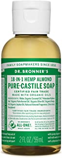 product image for Dr. Bronner's - Pure-Castile Liquid Soap (Almond, Travel Size, 2 ounce) - Made with Organic Oils, 18-in-1 Uses: Face, Body, Hair, Laundry, Pets and Dishes, Concentrated, Vegan, Non-GMO