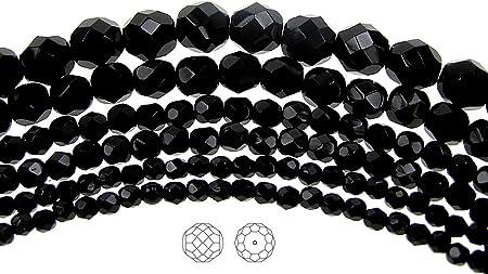 Czech Glass Fire Polish Beads 150 Jet Black 8mm Preciosa Czech Fire Polished Round Faceted Glass Beads loose