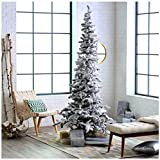 Artificial Christmas Tree. Fake Xmas Green Tree With Densely, Snow-covered Foliage. It's Narrow Pine Shape Saves Space, Stylish & Festively. Great For Indoor Holiday Season Party Decor. (6.5 Foot)