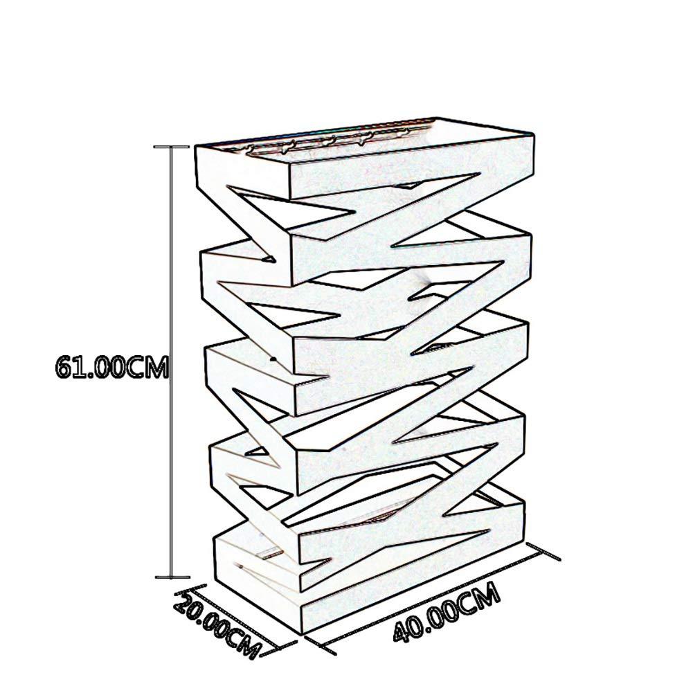 Entryway Rectangular Metal Umbrella Storage Stand w//5 Hooks Color : Black Drip Tray Floor Protection