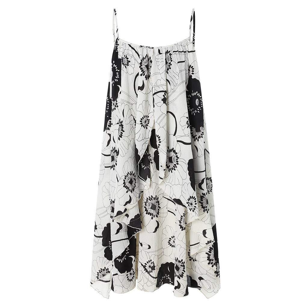 Dinosaur Sunflower Print Tank Dress with Front Twist Crop Top Summer Casual Dress Sleeveless Mini Dresses for Women