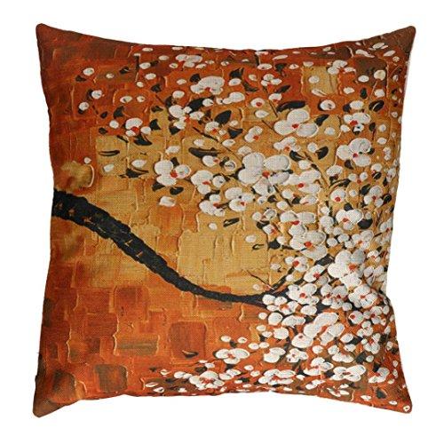 Clearance Pillow Case Sofa 3D Flower Tree Oil Printing Waist Throw Cushion Cover Home Decor (White) - Printing Durable