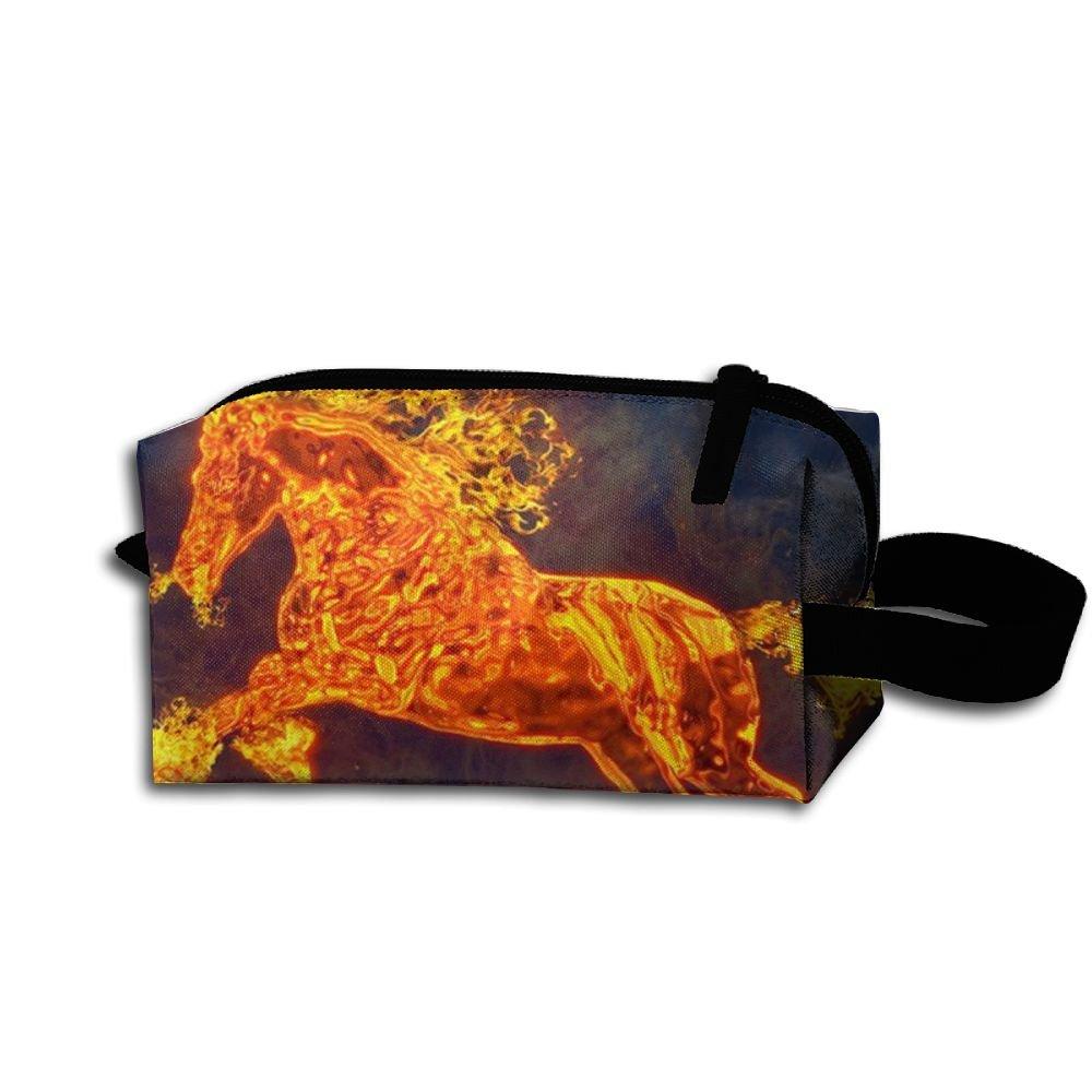 euy0 X D Horse FlameコスメティックバッグCrazy Young鉛筆ケースクリエイティブコスメティックポーチ   B07DYLXCTZ