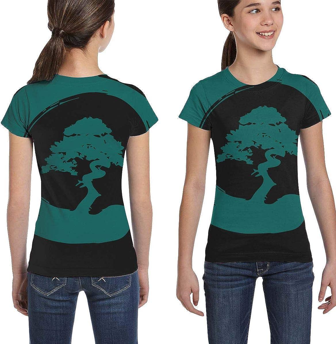 L6Nv4o@A Girls Short Sleeve Bonsai Tree Shirts Fashion Tunic Shirt Dress XS-XL
