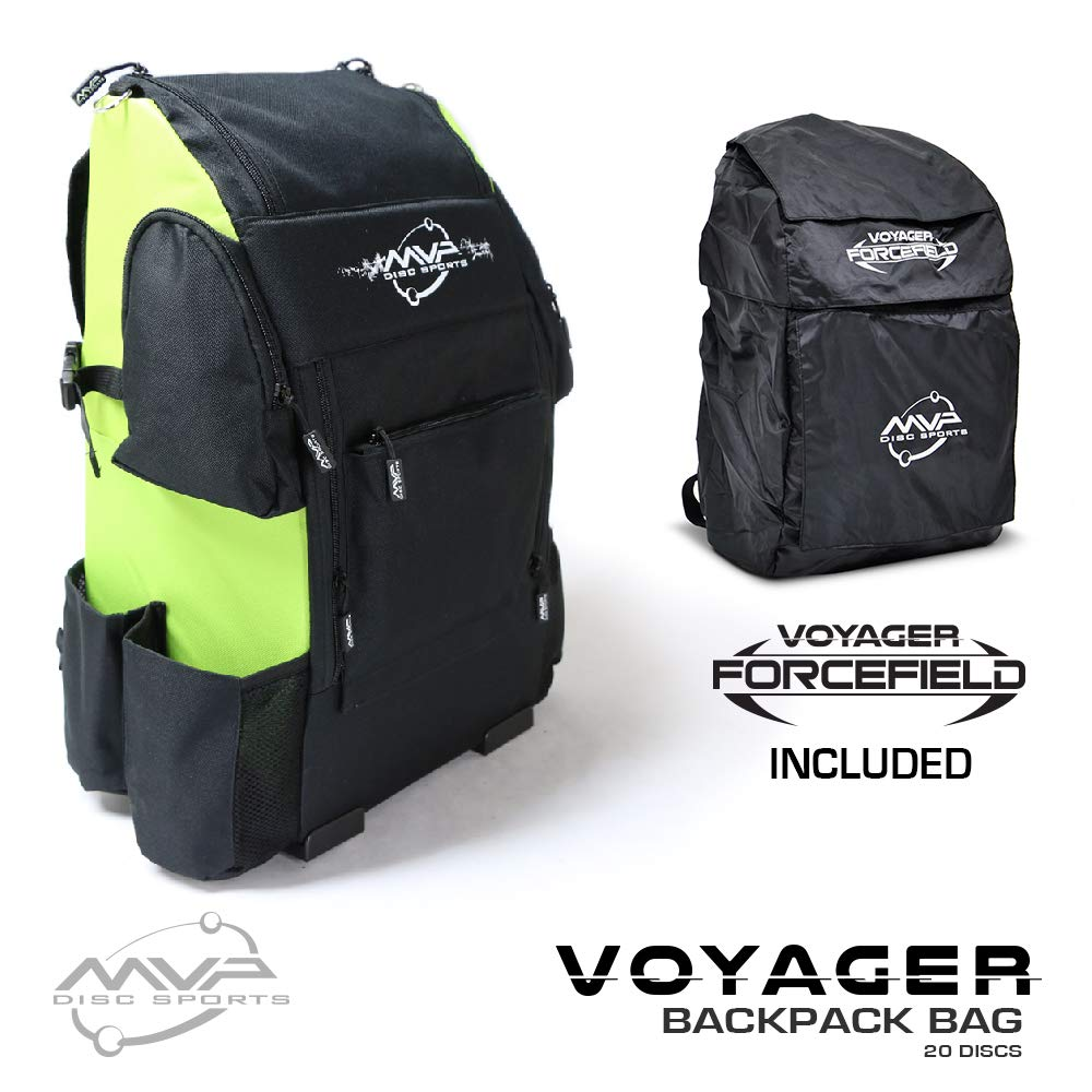 MVP Disc Sports Voyager Backpack Disc Golf Bag with Forcefield Rainfly - Lime