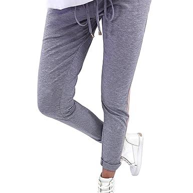 15a4703221b1 Coolster Damen-beiläufige Gestreifte Hohe Taillen-Hosen-Elastische Taillen-beiläufige  Hosen Lässige