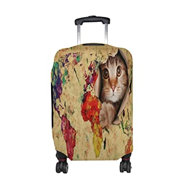 Amazon alaza hipster cat kitten world map travel luggage cover alaza hipster cat kitten world map travel luggage cover suitcase protector fits 23 26 inch gumiabroncs Image collections