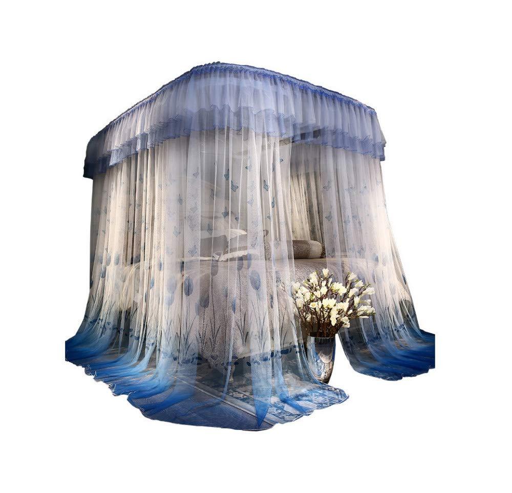 Mosquito net u Type Telescopic Rail Pull Rope Mosquito net Princess Style Mosquito net Bedding Indoor Mosquito net Bedroom Decoration, Blue, 230 180cm by RFVBNM Mosquito net (Image #1)