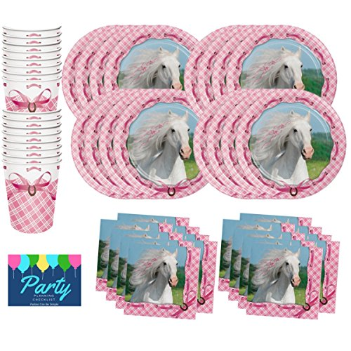 Lovely Pink Horse Birthday Party Supplies Set Plates Cups Napkins Tableware Kit for 16 Guests by PCBS -