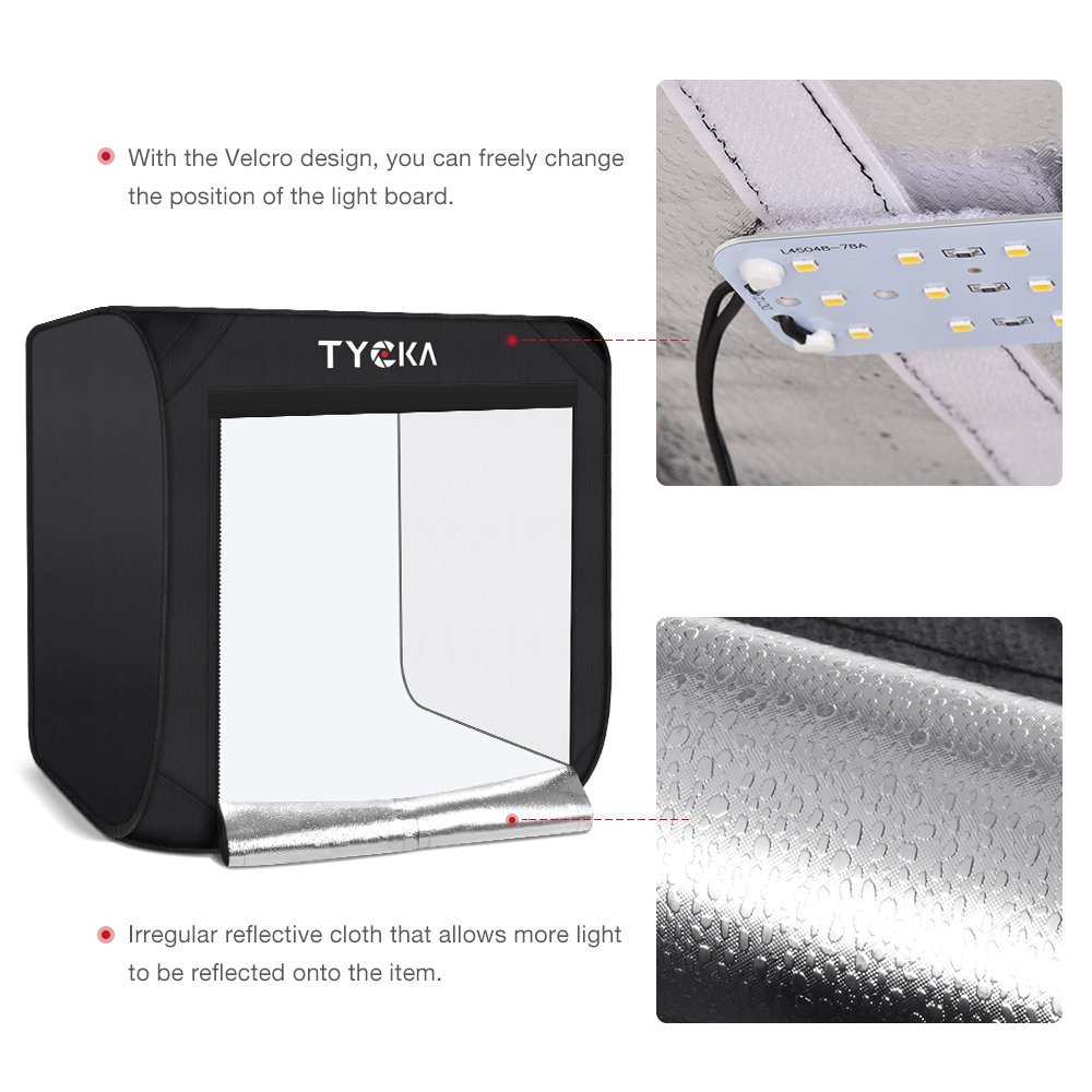 TYCKA Photo Studio Box, 24''X24''X24''Portable Folding Professional Photography Tent with 2 LED Light Strips and 3 Backdrops (Black, White, Beige) by TYCKA (Image #4)