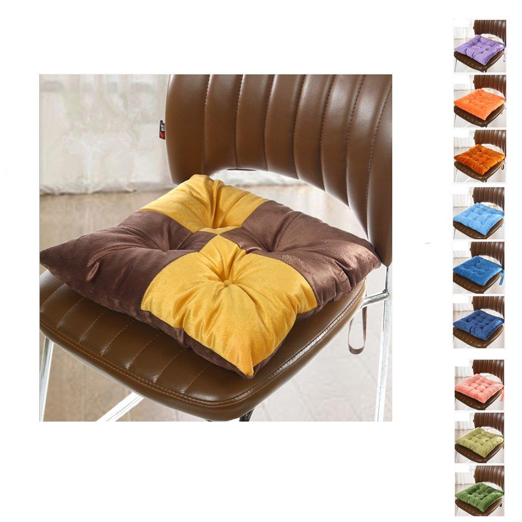 cojines para silla, Worsendy cojines para silla de cocina, Cojines de Asiento Cojín Amortiguador de Sillas Comedor Al Aire Libre Jardín Muebles Decoración (Amarillo + marrón)