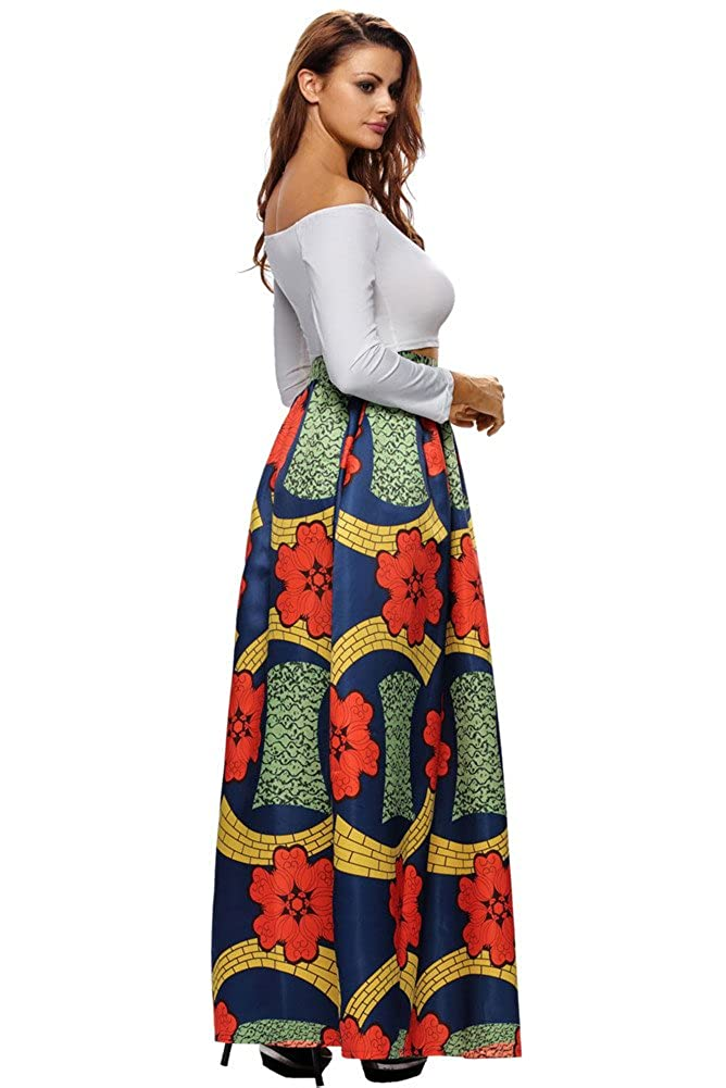 ebb0c63184a Amazon.com  VIGVOG Women s Ethnic Plus-Size African Print Pull-on Pleated  Maxi A-line Skirt with African Head Wrap  Clothing