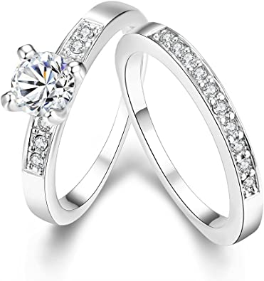 18K White Gold Plated 1.25 Carat Simulated Diamond Crossover Engagement Ring