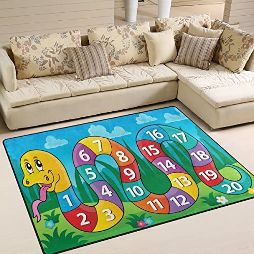 My Little Nest Kids Children Snake Numbers Board Game Area Rug Baby Boys Girls Playmat Non Slip Soft Educational Fun Carpet