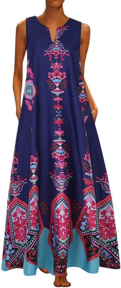 ZODOF vestidos mujer vestido bohemio mujer Casual Sin mangas ...