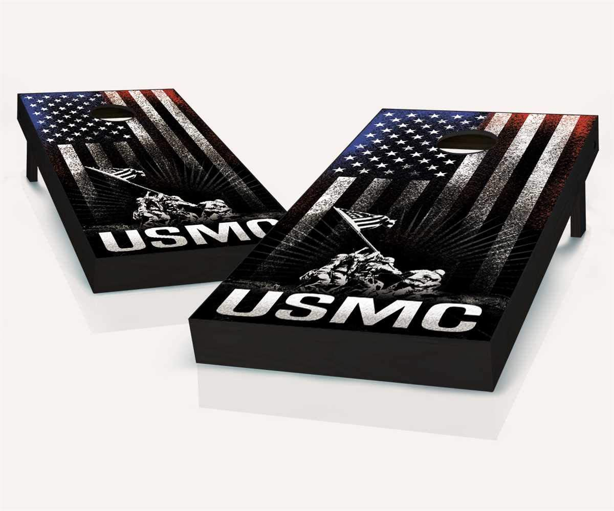 米国海兵隊 USMC ハンギングストライプ コーンホールボード - バッグとアクセサリーを選択 - ボード2枚 バッグ8枚など  B. 2x4 Boards (All Weather Bags)
