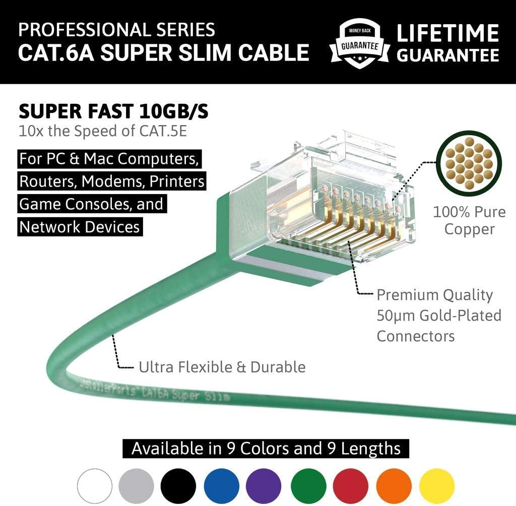 InstallerParts Ethernet Cable CAT6A Super Slim Cable UTP 5 FT 100 Pack 550MHZ - Green 10Gigabit//Sec Network//High Speed Internet Cable 32AWG Professional Series