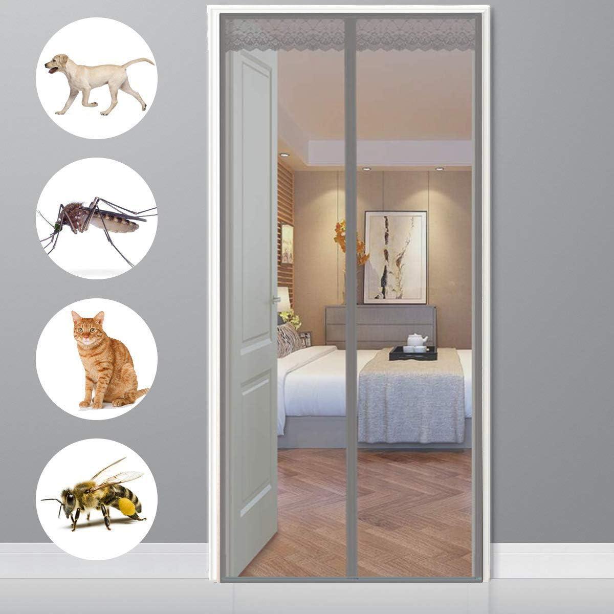 CHENG Mosquiteras imantadas 70x200cm, Pantalla MagnéTica, Adsorción magnética Plegable Fácil de Instalar, para Pasillos/Puertas/Ventanas - Gris: Amazon.es: Hogar
