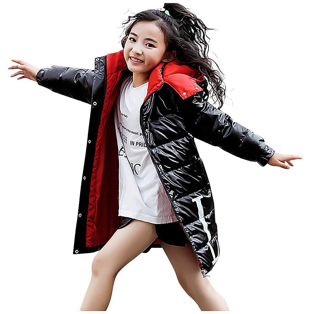 BFYOU Kids Girls Boys Winter Hooded Letter Waterproof Coat Jacket Overcoat Outwear Black by BFYOU_ Girl Clothing