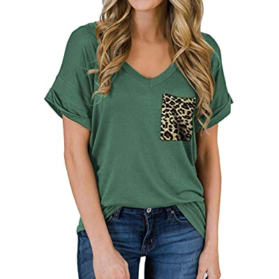 Womens V Neck Summer Short Sleeve T-Shirt Leopard Front Pocket Casual Loose Basic Tunic Shirt Tops at Women's Clothing store
