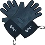 Heat Resistant Silicone Grill Gloves Oven Mitts and Potholder for BBQ, Cooking, Baking – Extra Long with Cotton Layer inside, Waterproof, FDA Approved, Non-slip, Non-Stick, 1 Size Fits All (Black)