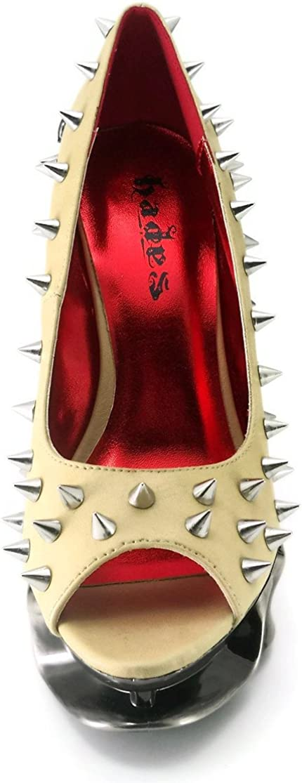 Nude HADES Talon Open Toe Pumps with Metal Spikes