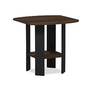 Furinno 11180CWN Simple Design End/Side Table 1, Columbia Walnut/Black