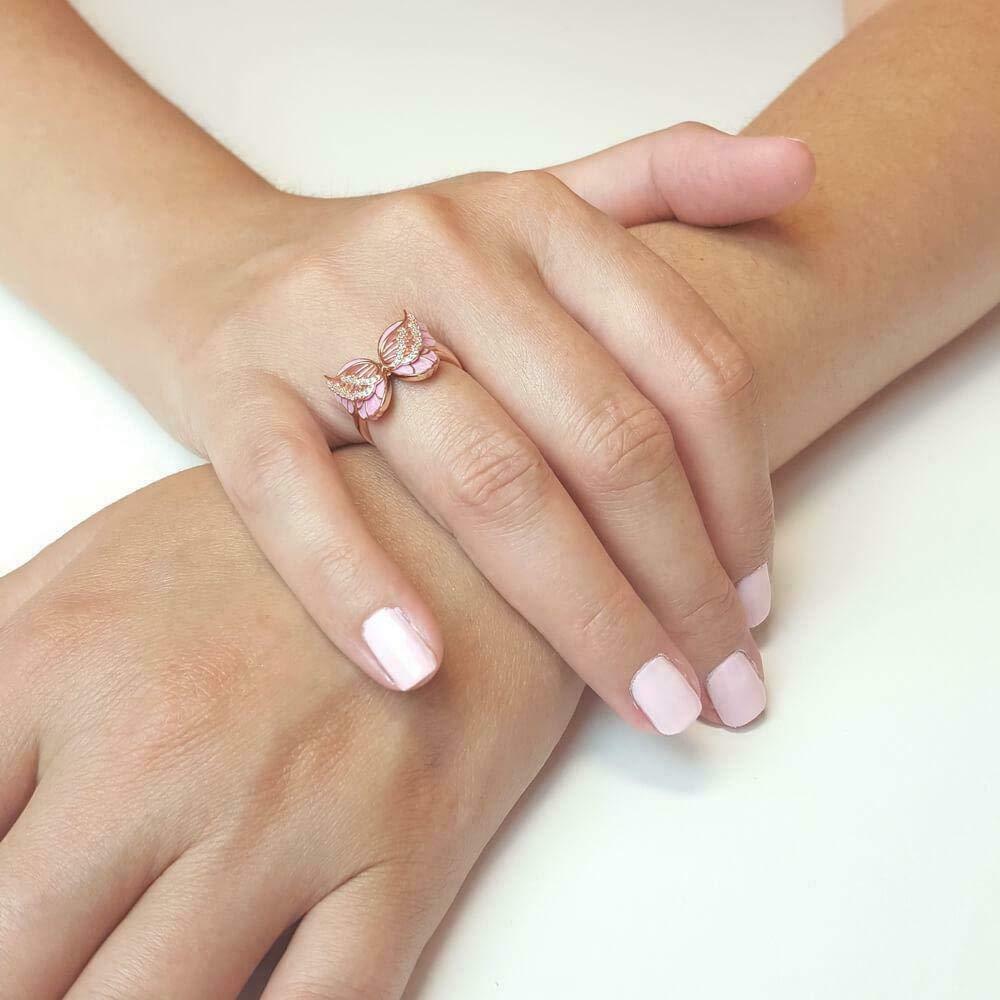 JENNIE SHOP Beautiful Pink Butterfly 18K Rose Gold Plated Enamel White Topaz Ring Sz5-10 8