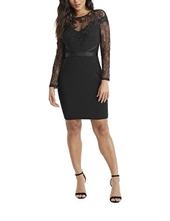 LIPSY Womens Lace Top Detail Long Sleeve Bodycon Dress Black US 8 (UK 12)