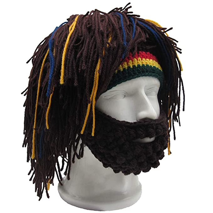 3597883f832 Kirmoo Wig Beard Hats Hobo Mad Scientist Rasta Caveman Handmade Knitted  Warm Winter Caps Funny Party Mask Hair Beanies (Brown) at Amazon Men s  Clothing ...