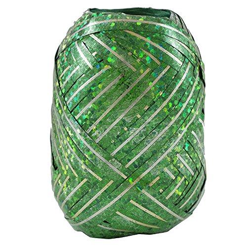 (JAM PAPER Curling Ribbon - Dark Green with Gold Stripe Hologram Ribbon Egg - 40 feet per Egg - Sold individually)