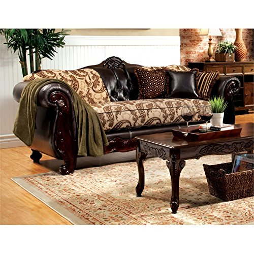 Furniture of America Mora Fabric and Leather Sofa in Espresso