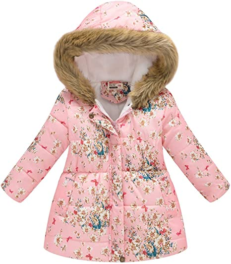 Baby Girl Floral Bowknot Thickened Warm Jacket Winter Coat 18-24Months Pink