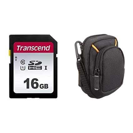 Transcend TS16GSDC300S-E Tarjeta SD de 16 GB, SDHC, Clase 10, U1, Velocidad de Lectura hasta 95 MB/s – Paquete abrefácil & AmazonBasics - Funda para ...