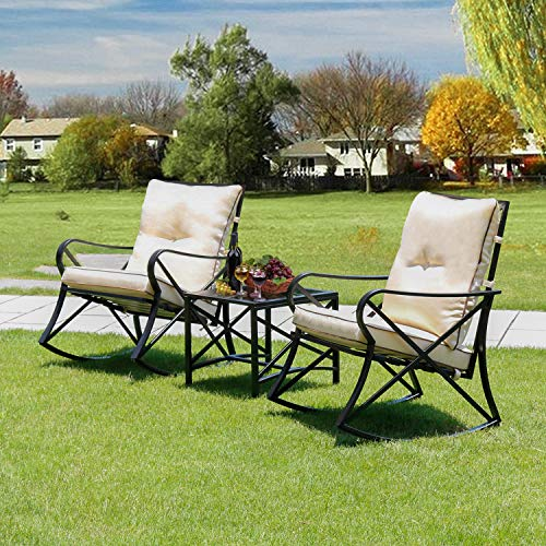 LINLUX 3 Piece Rocking Bistro Set Outdoor Steel Patio Furniture Sets with Two Thickened Cushions & Glass Coffee Table