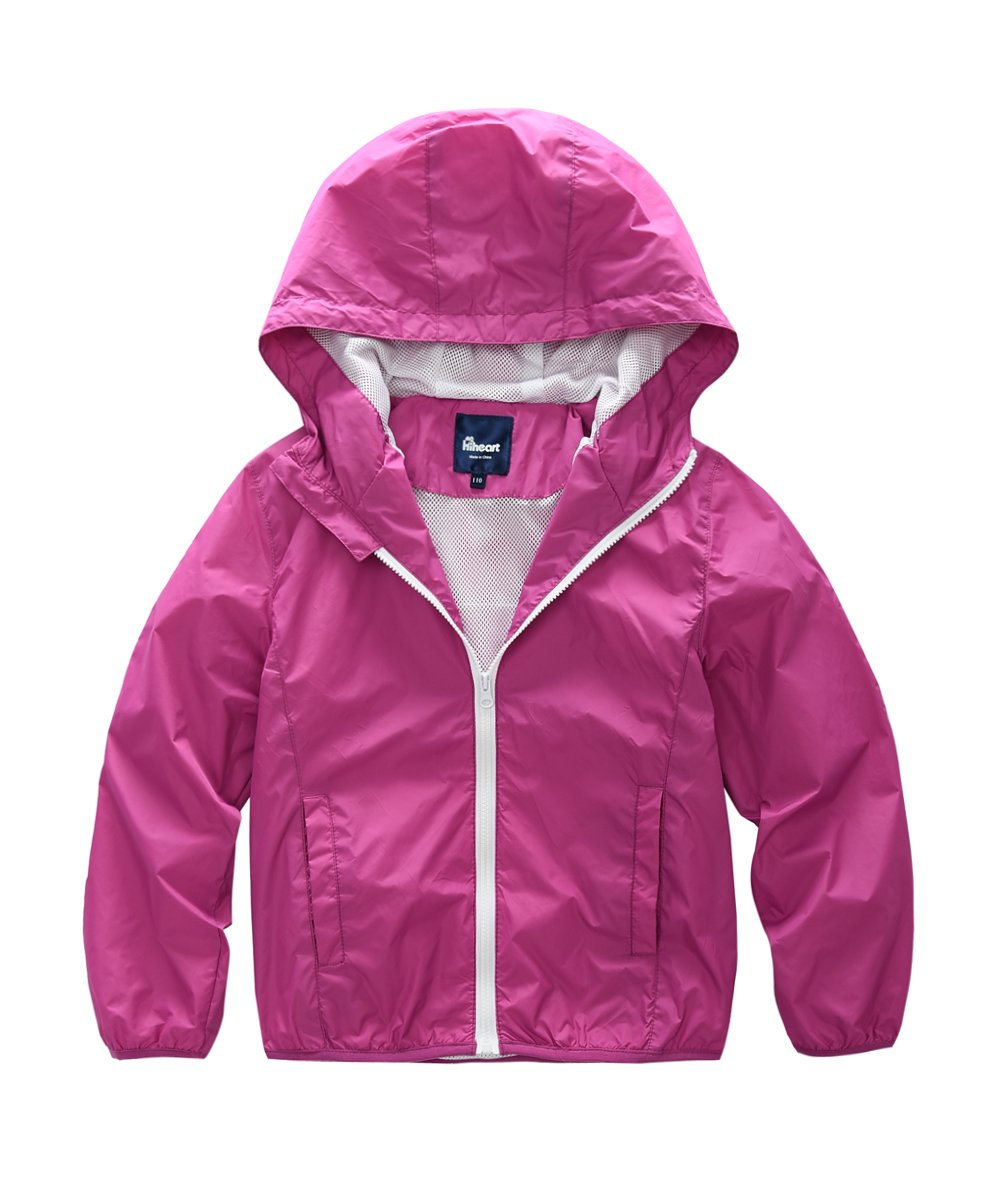 Hiheart Girls Summer Lightweight Hooded Water Resistant Jacket Rosy 5/6