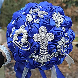 YOYOYU Luxury Royal Blue Tassels Diamond Wedding Bridal Bouquet Crystal Brooch Wedding Bouquet Silk Rose Artificial Flower W-235 73