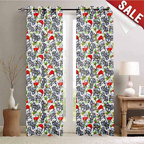 Cars Waterproof Window Curtain Christmas Themed Hand Drawn Cars with Santa Hats and Presents on Winter Holiday Decorative Curtains for Living Room W108 x L108 Inch Lime Green -