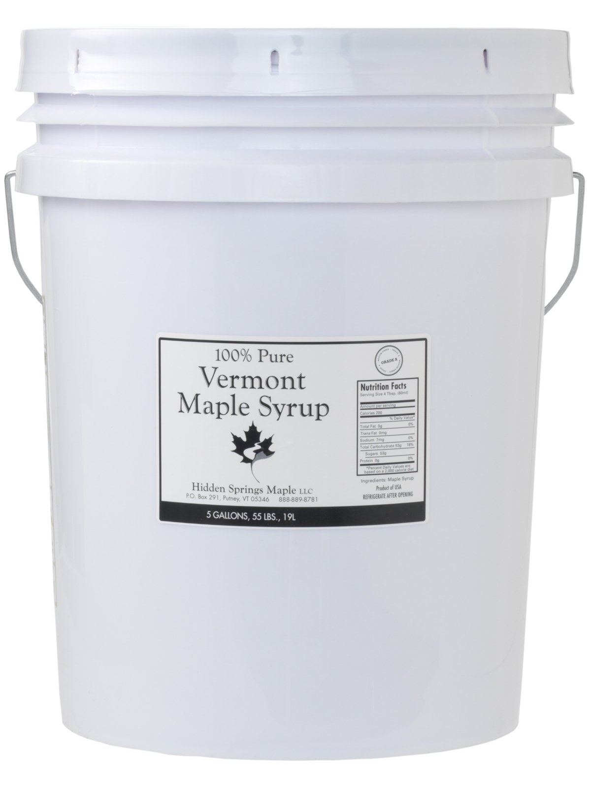 Hidden Springs Maple 5 Gallon Pail Maple Syrup, Amber Rich