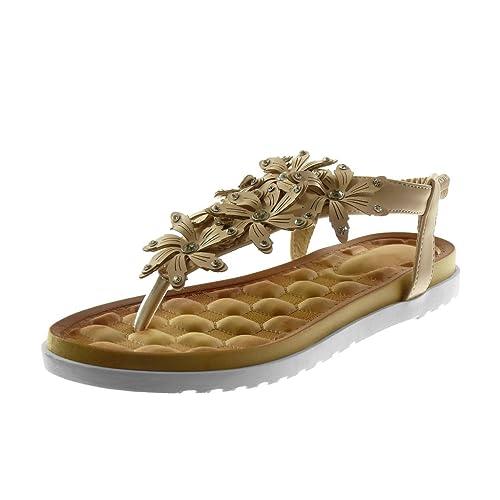 Angkorly Zapatillas Moda Sandalias Chanclas Correa Slip-On Suela de Zapatillas Mujer Flores Strass Tachonado Tacón Plano 2.5 cm: Amazon.es: Zapatos y ...