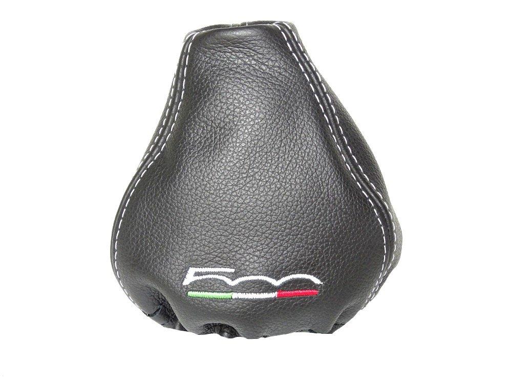 """Cuffia della leva del cambio in pelle nera '500 Italian"""" , ricamo bianco The Tuning-Shop Ltd"""