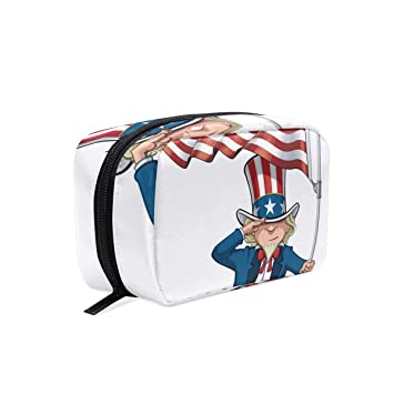 211af6e5b60f Uncle Sam Saluting The Us Flag Travel Makeup Cosmetic Bags ...
