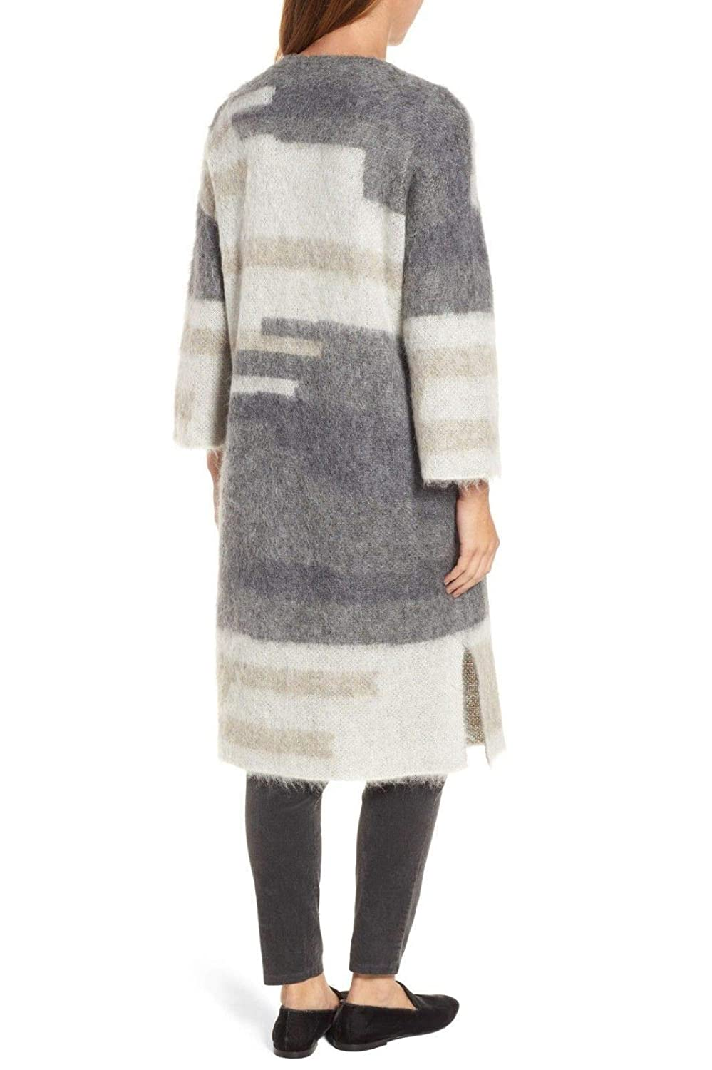 47f002a0028d Eileen Fisher Ash Brushed Alpaca Mohair Simple Long Cardigan at ...