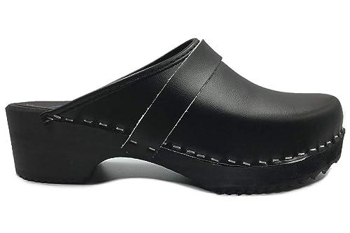 634e218eceb8 AM-Toffeln 100 sabots mules en bois et cuir noir  Amazon.fr  Chaussures et  Sacs