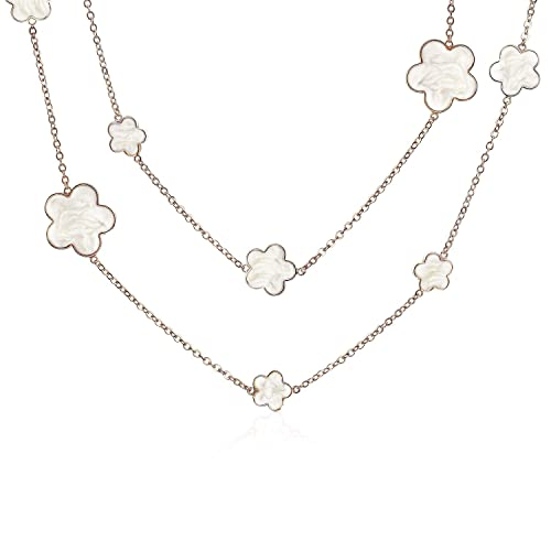 Bling Jewelry White Cream Clover Flower Long Silver Plated Brass Station Tin Cup Chain Wrap Layer Necklace for Women 42 Inch