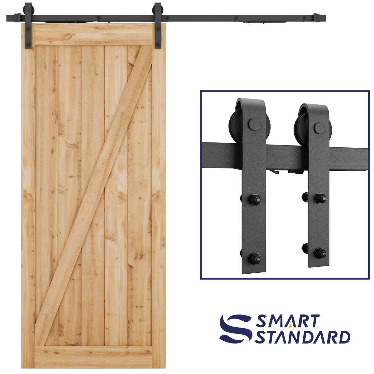 6.6ft Soft Close Heavy Duty Sturdy Sliding Barn Door Hardware Kit - Smoothly and Quietly - Simple and Easy to Install - Includes Step-By-Step Installation Instruction -Fit 36''-40'' Door Panel(J Shape)